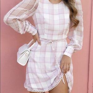 Showpo Gingham Dress Lavender/White Sz 6